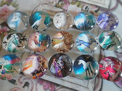 A set of 15 Fantasy Unicorn Cabochons / beads 20mm for craft, jewellery supplies
