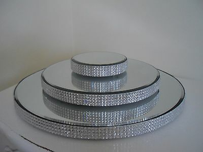 New Gorgeous Diamante Glass mirror Plate Cake Stand Candle wedding 30, 21, 10cm