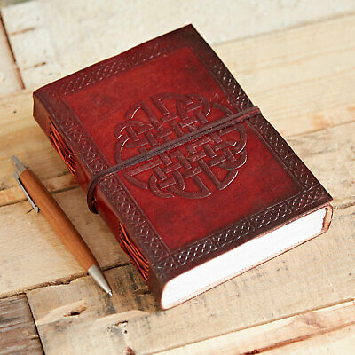 Fair Trade Handmade Celtic Quaternary Knot Leather Journal Notebook Diary