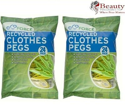2 x Packs of 24 Ecoforce Clothes Pegs (48 Pegs) - Made from Recycled Plastic