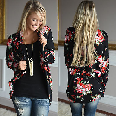 Womens Cardigan Loose Sweater Long Sleeve Cotton Floral Cardigan Outwear Jacket