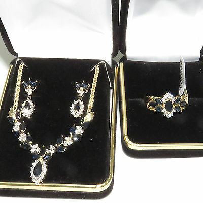 NYJEWEL14k Solid Gold New Italy Sapphire Diamond Necklace Ring Earring Set $5097