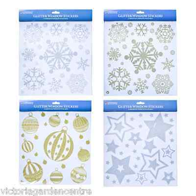 Glitter Window Stickers - Baubles Stars Snowflake Designs