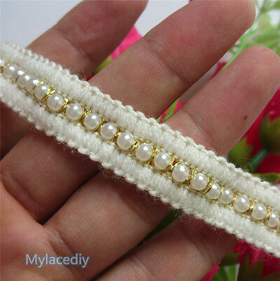 1yd Vintage Pearl Cotton Embroidered Lace Edge Trim Ribbon Applique Sewing Craft