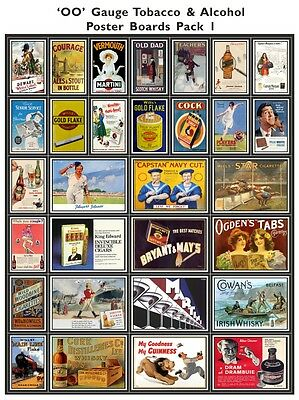 Alcohol & Tobacco Model Railway Poster Pack - OO Scale 4mm High Quality Die Cut
