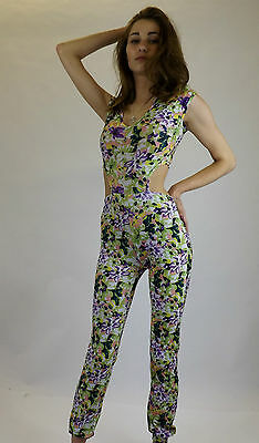 Jumpsuit Limited New Ladies Festival Fashion Wear 8-12 Green Floral Print