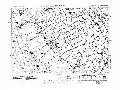 Iford, Rodmell, Kingston near Lewes, old map Sussex 1911: 67NW repro