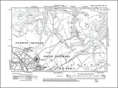 South Heighton, Tarring Neville, old map Sussex 1911: 67SE repro