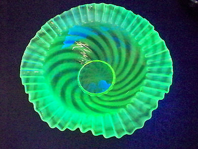 Antique Jefferson Glass Vaseline Canary Opalescent Glass CRE Master Bowl EAPG