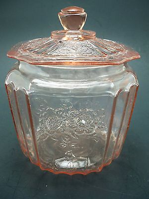 Depression by Hocking Glass Mayfair Pink Open Rose Cracker Jar / Covered Candy