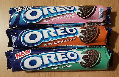 3x OREO: MINT PEANUT BUTTER STRAWBERRY CHEESECAKE Flavour Cookies 462g (3x154g)