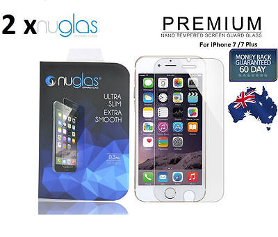 2XGENUINE NUGLAS Tempered Glass Screen Protector For Apple iPhone 6S 7 8 Plus X