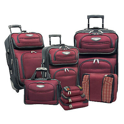 Travelers Choice Red Amsterdam 8pc Suitcase Tote Packing Cubes Wheel Luggage Set