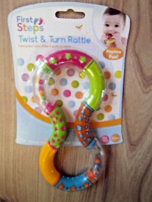 BPA FREE Twist and Turn Rattle Baby Rattles Toy Activity 6 month+ Teething Gift
