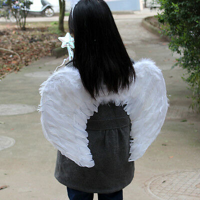 USA Adults Kids Feather Wings Angel Fairy For Xmas Costume Halloween Party Dress