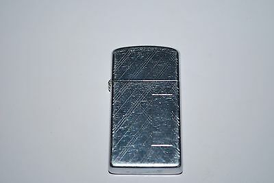Vintage 1965 Zippo Slim Lighter Etched Vertical and Cross Lines Not Engraved