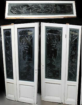 Antique French Art Nouveau Etched Glass Entry Set: Doors w/ Sidelights & Transom