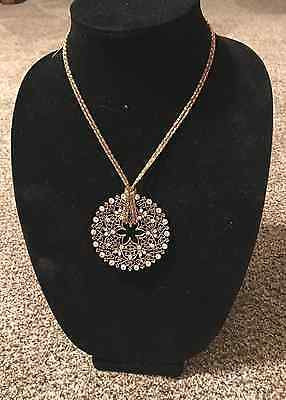Stunning Vintage Gold Tone Medallion Pendant Necklace with Rhinestone Accent
