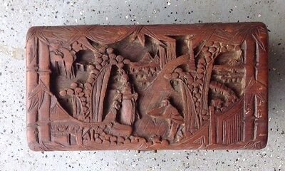 Antique Asian Wooden Hand Carved Yu Ting Good Luck Chest, Hong Kong