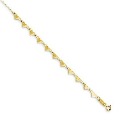 14k Yellow Gold Oval Link Heart Anklet With 1 Inch Extension 1.18 gr 9 Inches