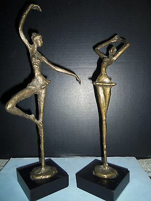 Vintage two Matching  Solid Brass Ballerina sculptures Statue Figures 14 inches