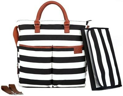Nappy Bag by Hip Cub - Plus Matching Baby Changing Pad - Black and White Stripe