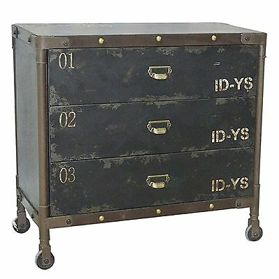 Cupboard Chest Of 3 Drawers Cabinet Industrial Urban Loft Loft On Wheels Black