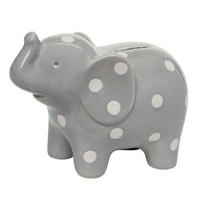 NEW Genuine Elegant Baby Ceramic Money Box - Grey Elephant