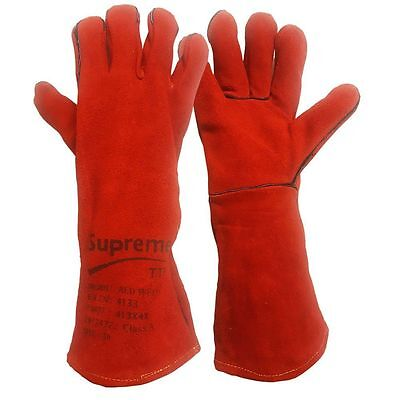 10 Pairs Welding Gloves Welders High Quality Wood Burner Log Fire Red Gauntlet