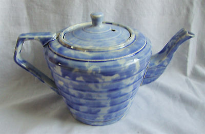 Wadeheath ART DECO Stylish Mottled Blue Ribbed Teapot