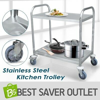 2 Tier Kitchen Trolley Cart Stainless Steel Dining Service Food Utility