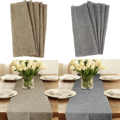 Vintage Imitated Linen Hessian Table Runner For Xmas Wedding Event Table Decor