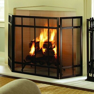 Fireplace Screen 3-Panel Hinged Brown Finish Steel Three Panel Fire Screen NEW