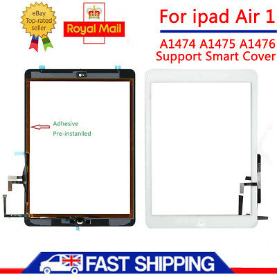 For iPad 5 Air 1st A1474 A1475 A1476 White Touch Screen Glass Digitizer + Button