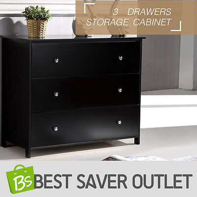 Tallboy Bedroom Organizer Storage Bedside Table Cabinet Chest 3 Drawers Black