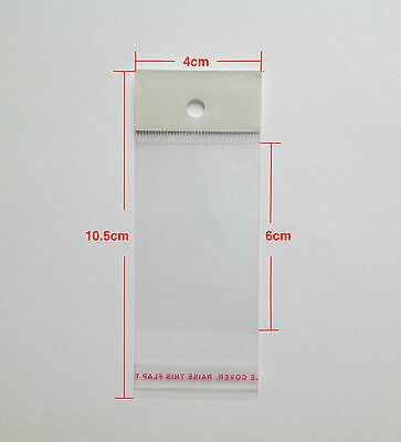 Clear Self Adhesive Plastic Opp Display Bag Sealable With Header 10.5x4cm(6x4cm)