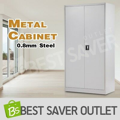 185cm Metal Locker Filing File Cabinet Storage Steel Stationary Cupboard Grey WH