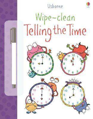 Usborne Wipe Clean Telling The Time Book - Children's Learn Time Book