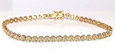 A FINE 18CT 18KT YELLOW  GOLD 1.0CT  DIAMOND LINE TENNIS  BRACELET 6.9g