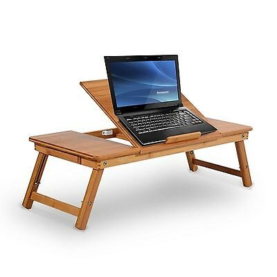 Foldable Bed Lapdesk Adjustable Laptop Table Cooling Notebook Desk Wooden Stand