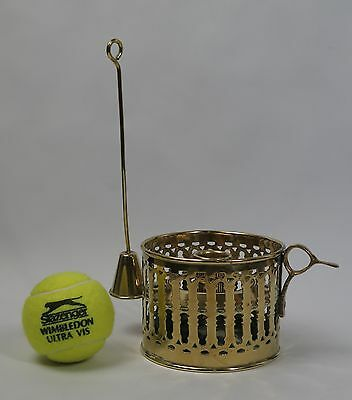 Brass chamber stick candle holder with pierced sides and snuffer c1850