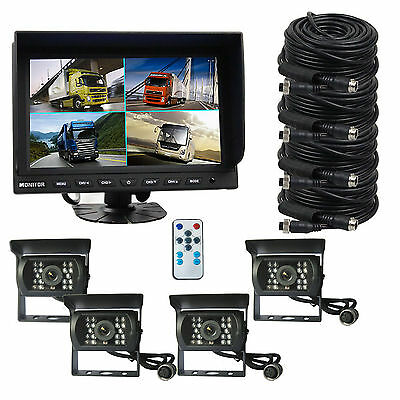 """4 CH 9"""" Monitor Truck Tractor Reversing Security SYSTEM 4x Rear View Camera Kit"""