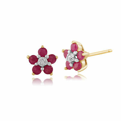9ct Yellow Gold 0.58ct Natural Ruby & Diamond Flower Stud Earrings