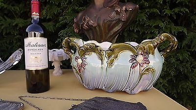 Antique French Barbotine Majolica Floral Planter Flowers LARGE Art Nouveau décor