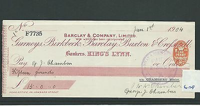 wbc. - CHEQUE - CH608- USED -1900/04 - BARCLAY & CO. KINGS LYNN, overprint