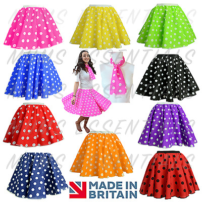 22c5e5462b3a Ladies POLKA DOT ROCK N ROLL 50s SKIRT & SCARF FANCY DRESS COSTUME Hen  Party UK