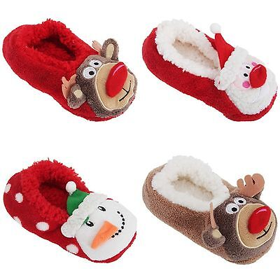 Childrens Super Soft Christmas Co-Zees Sherpa Novelty 3D Slippers size uk 4-6