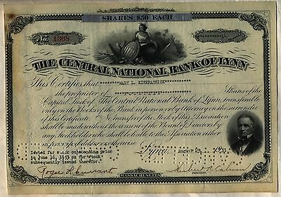 Central National Bank of Lynn Stock Certificate Massachusetts