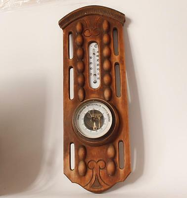 Antique German Carved Wood Art Deco Weather Station/Barometer c.1920s
