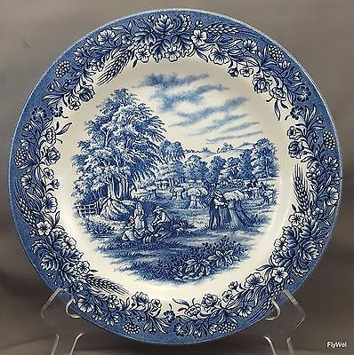 "Churchill Currier and Ives Harvest Dinner Plate 10.25"" Blue Transferware"